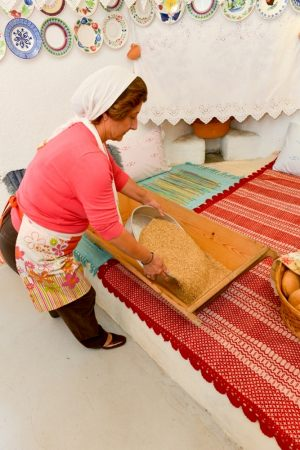 "Preparing traditional sweet ""melekounι"". It took place during the workshop ""Traditional wedding's sweet ""melekouni"" and bread of the Archangelos village"" - 7/11/2014. Host: traditional house Serafi."